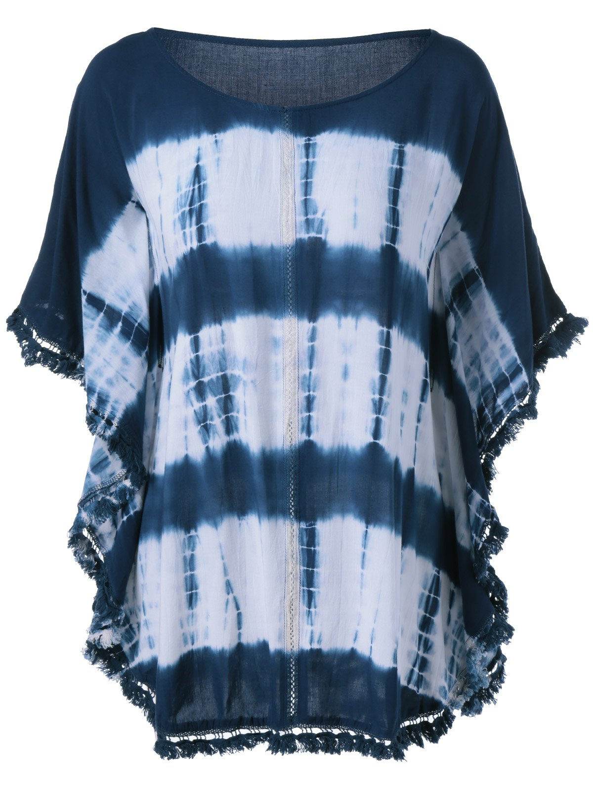 Fringed Bat Sleeve Tie-Dye T-Shirt - COLORMIX ONE SIZE