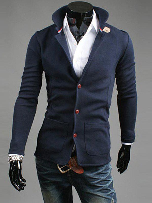 Stand Collar Button Up Long Sleeve Casual Blazer - DEEP BLUE 2XL
