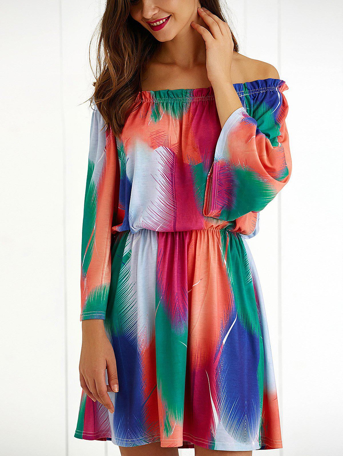 Off The Shoulder 3/4 Sleeve Colorful Dress - COLORMIX XL