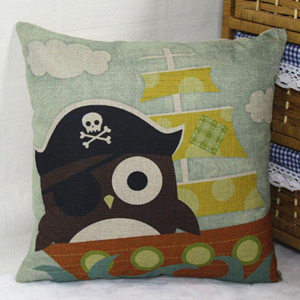 Cartoon Skull Pirate Ship Owl Design Flax Pillow Case - LIGHT BLUE