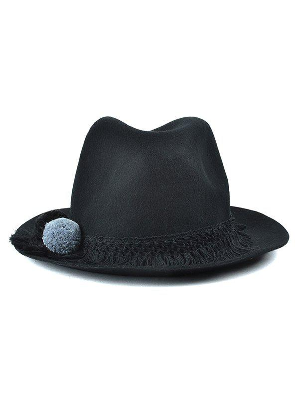 Small Pompon Tassel Belt Felt Jazz Hat - BLACK