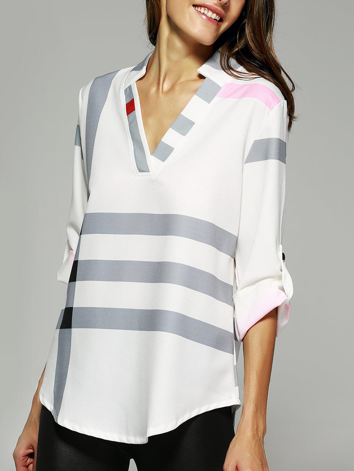 V Neck Color Block Tunic Blouse - WHITE XL