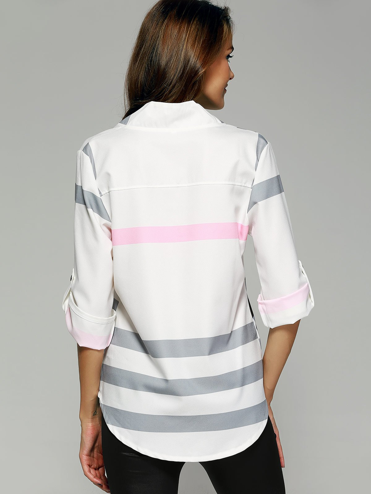 V Neck Color Block Tunic Blouse - WHITE M