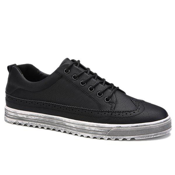 Retro Engraving and Lace-Up Design Men's Casual Shoes - BLACK 43