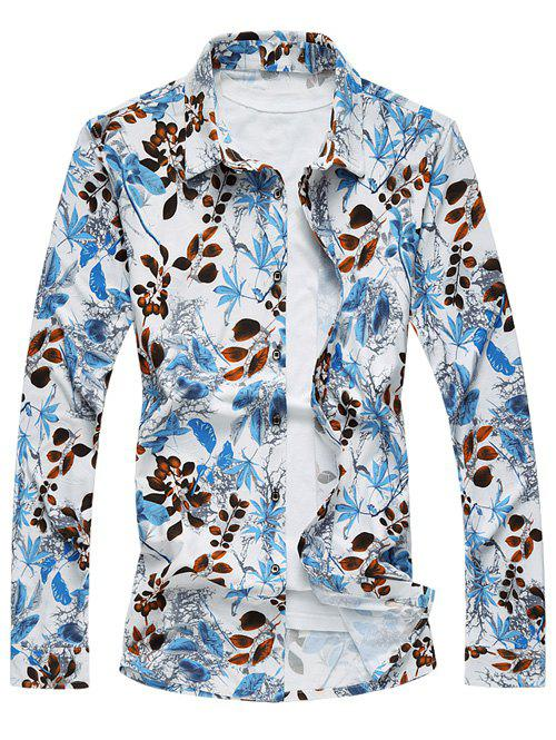Leaf Print Long Sleeve Turn-Down Collar Hawaiian Shirt - WHITE 5XL