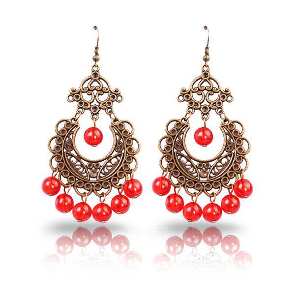 Pair of Vintage Faux Crystal Beads Filigree Geometric Floral Earrings - RED