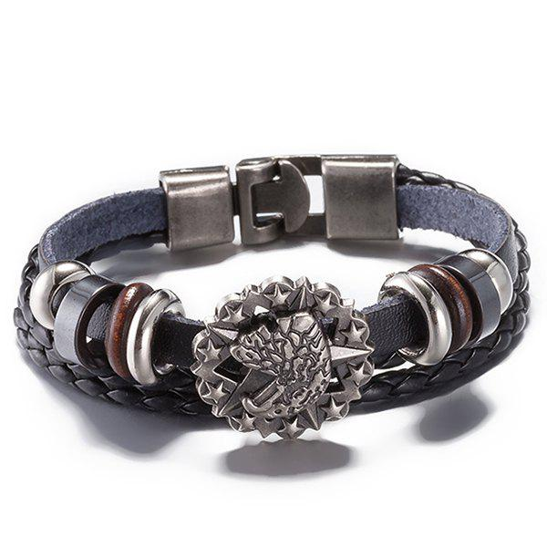 Star Faux Leather Braided Bracelet - BLACK