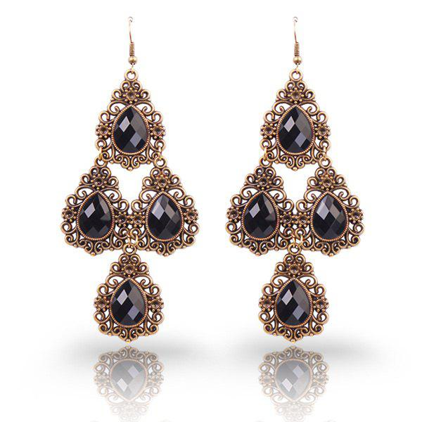 Pair of Retro Filigree Faux Crystal Tiered Teardrop Earrings
