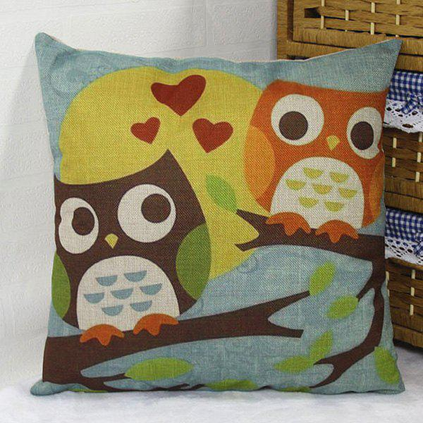 Owl Lover On Tree Branch Design Flax Pillow Case handpainted birds and leaf branch printed pillow case