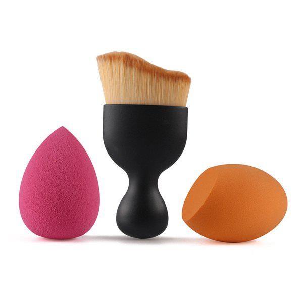 Cosmetic 3 Pcs Forme / Set Vague Blush Brush + Bevel Cut Blender Beauty + Beauty Blender - Noir
