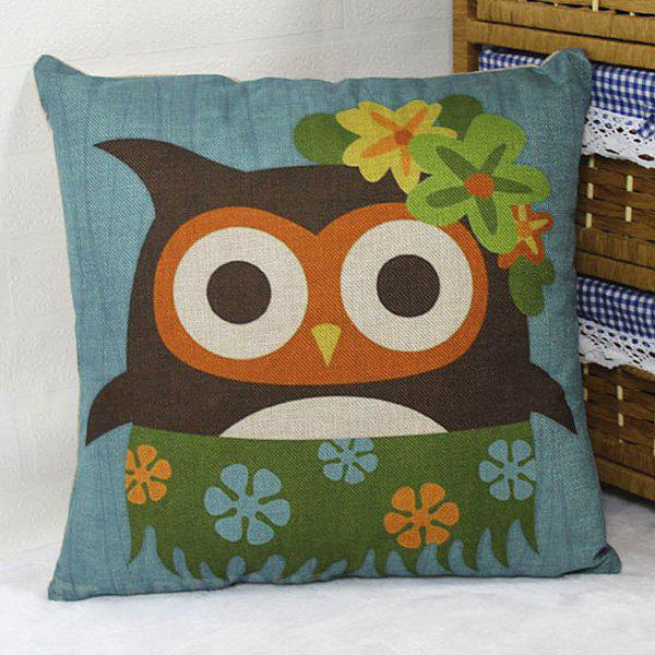 Flax Hawaii Owl With Flower Cartoon Pillow Case - DENIM BLUE