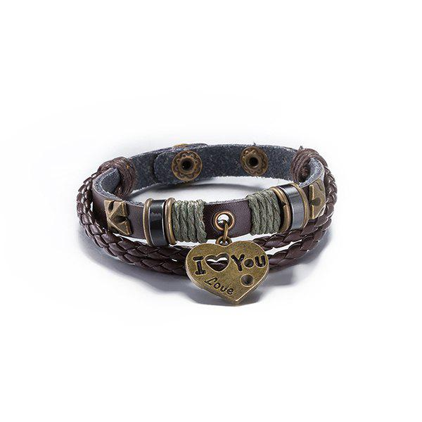 Vintage Faux Leather Woven Rope Letters Bracelet For Men