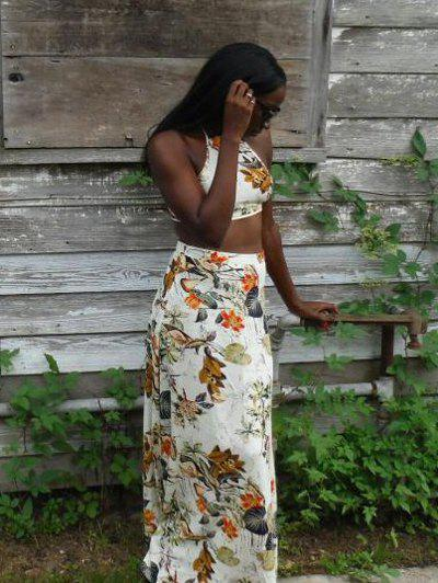 Back Lace-Up Cross Crop Top and High-Waist Design Maxi Skirt Twinset - WHITE XL