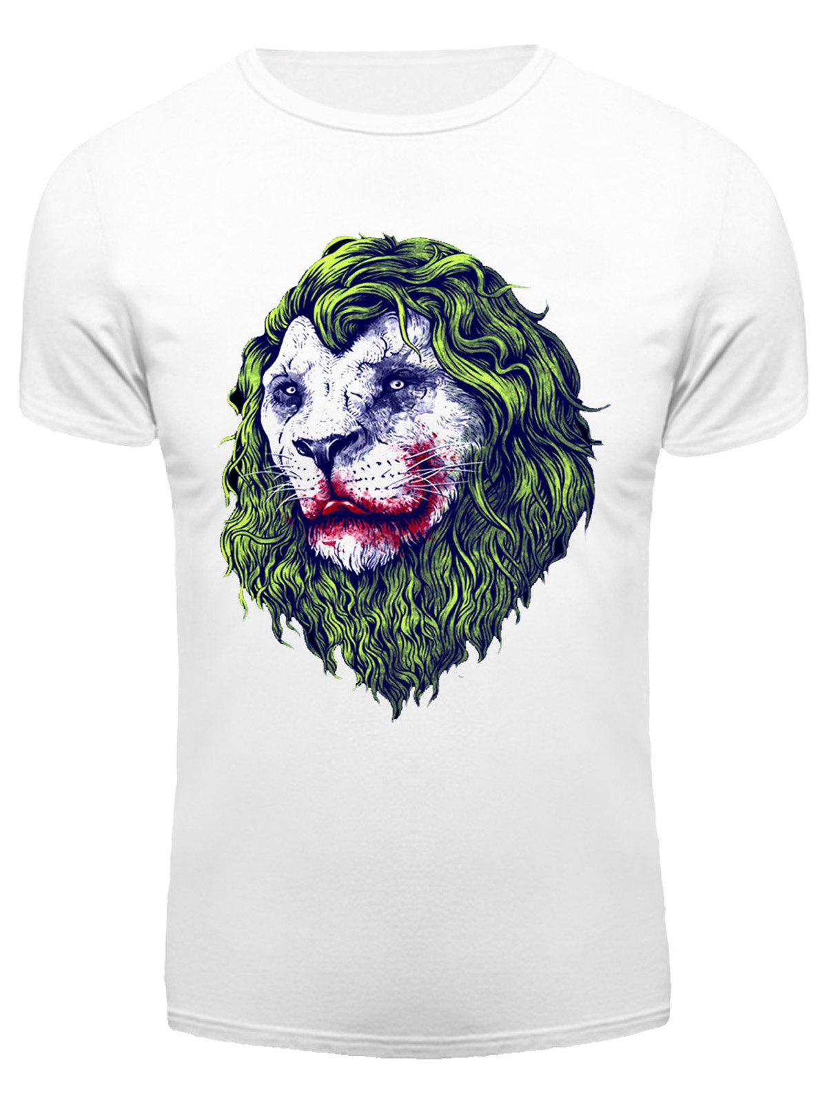 Round Neck 3D Joker Lion Print Short Sleeve Men's T-Shirt - WHITE XL