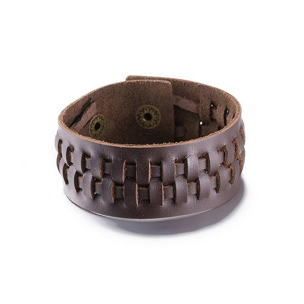 Delicate Woven Faux Leather Bracelet For Men - BROWN