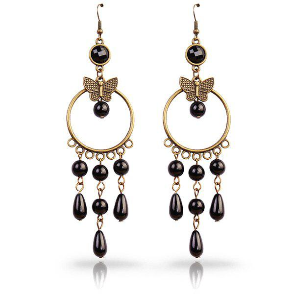Pair of Vintage Cut Out Black Faux Pearl Butterfly Circle Teardrop Earrings - BLACK
