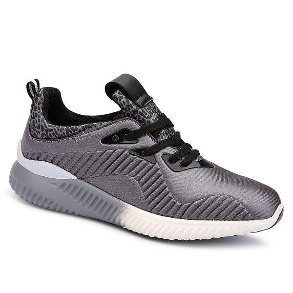 Trendy Lace-Up and Splicing Design Men's Athletic Shoes - GRAY 43