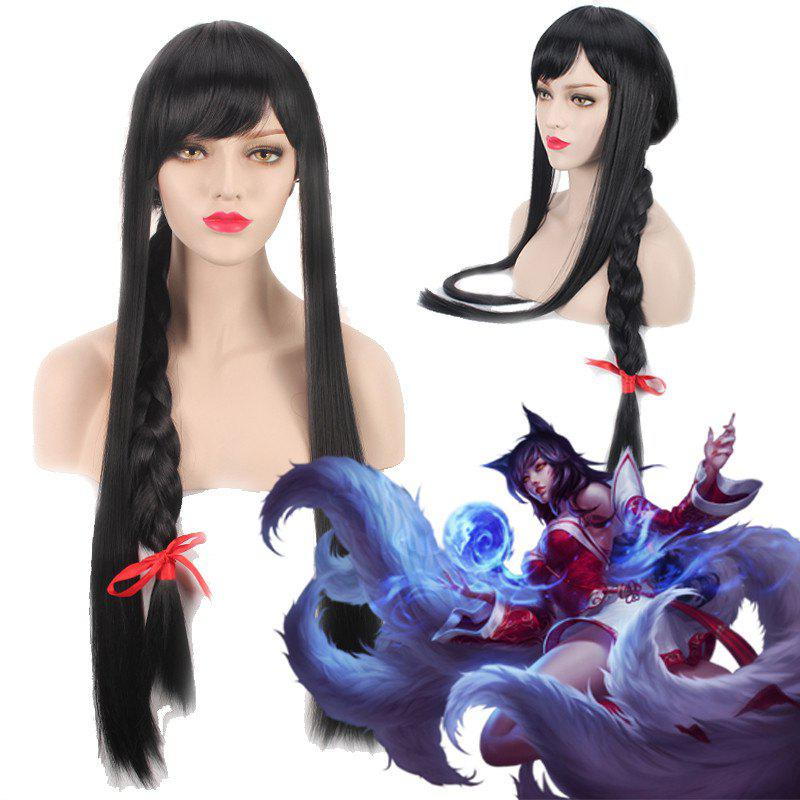 League of Legends LOLAhri Black Straight Extra Long With Braided Cosplay Wig - BLACK