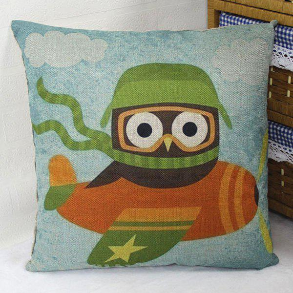 Flax Cartoon Owl Air Pilot Pattern Pillow Case -  LIGHT BLUE