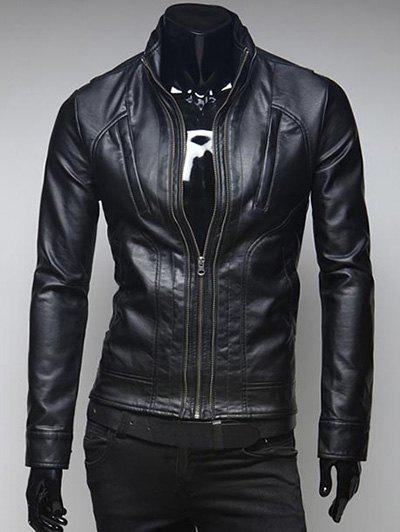 Zippered Pockets Design Stand Collar Long Sleeve Faux Leather Jacket - BLACK L