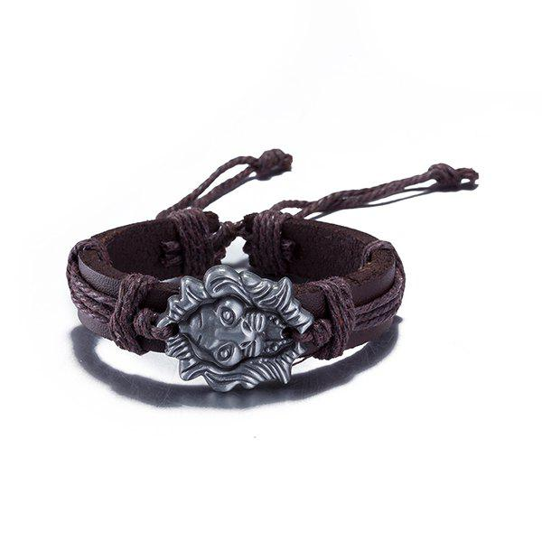 Vintage Faux Leather Lion Head Bracelet