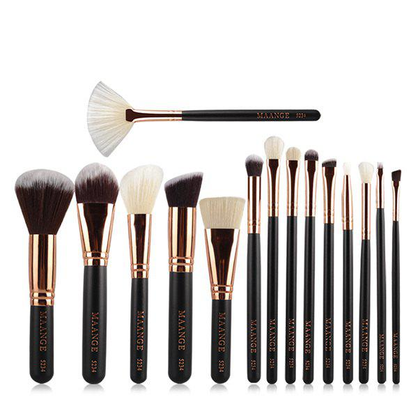 Cosmetic 15 Pcs Nylon Facial Eye Lip Makeup Brushes Set - BLACK