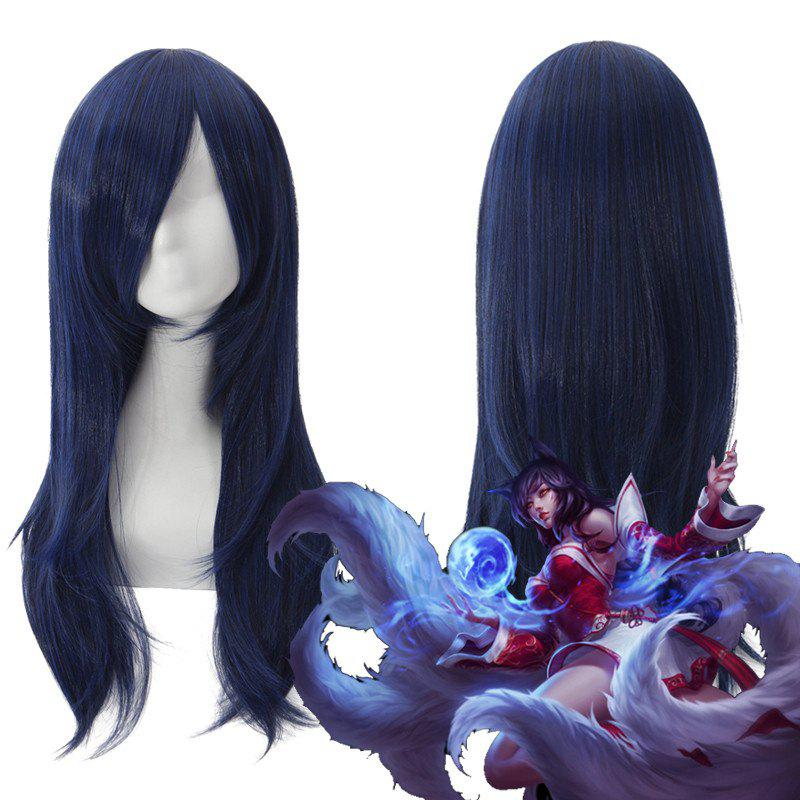 League of Legends LOL	Ahri Fluffy Long Layered Straight Blue Black Cosplay Wig