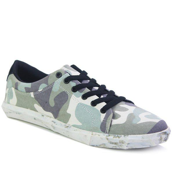Trendy Lace-Up and Camouflage Pattern Design Men's Casual Shoes - LIGHT GREEN 43