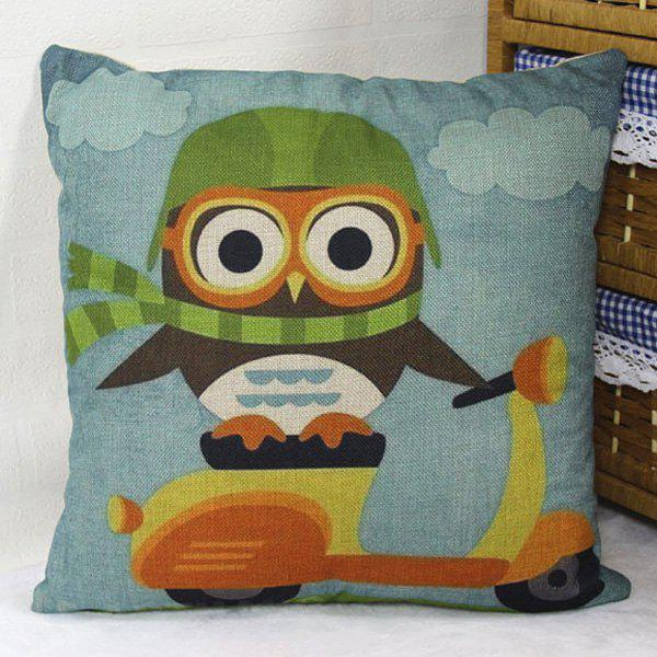 Owl On Motorbike Pattern Cartoon Pillow Case - LIGHT BLUE
