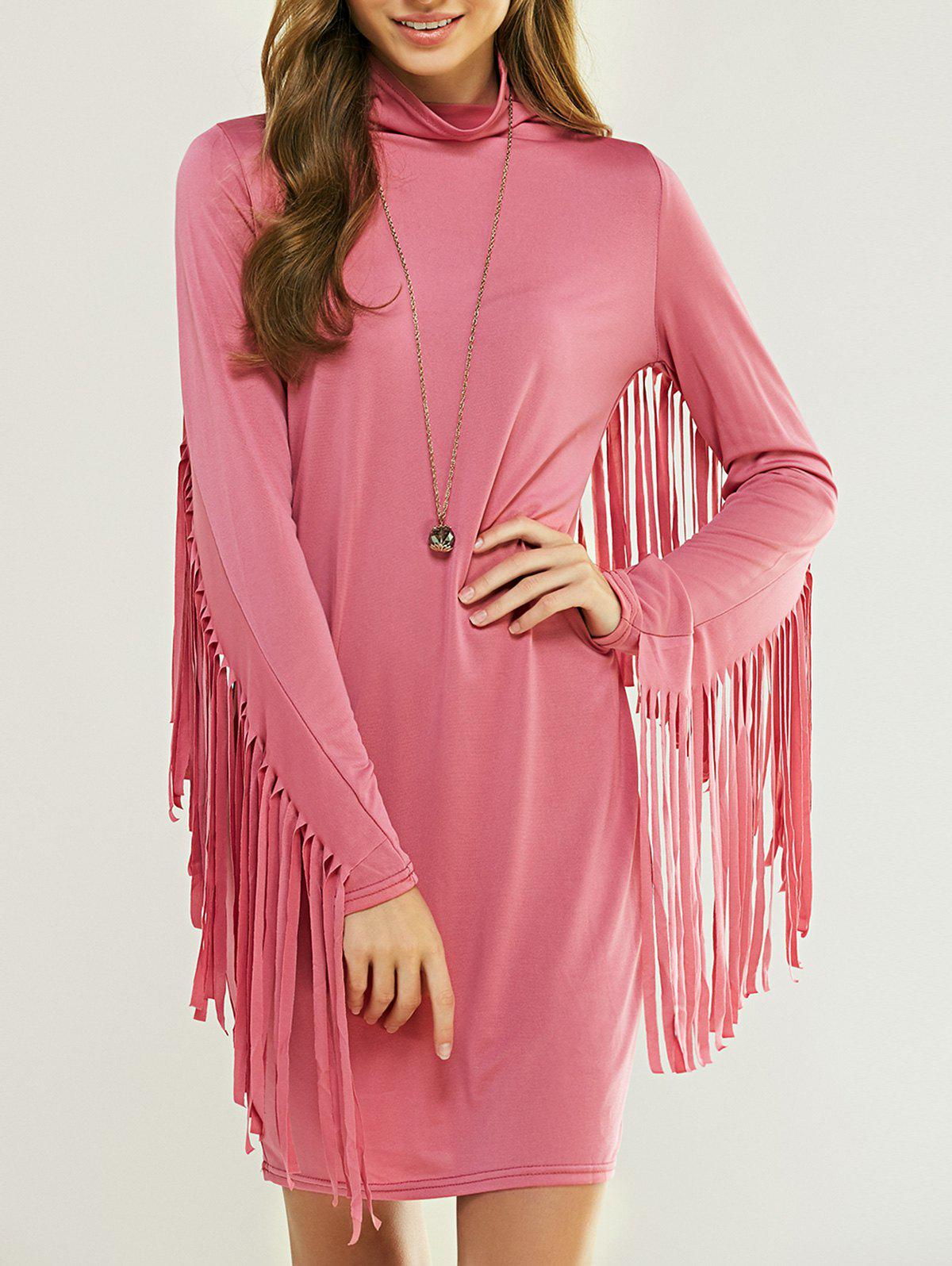 Cowl Neck Long Sleeve Fringed Skinny Dress - PINK XL