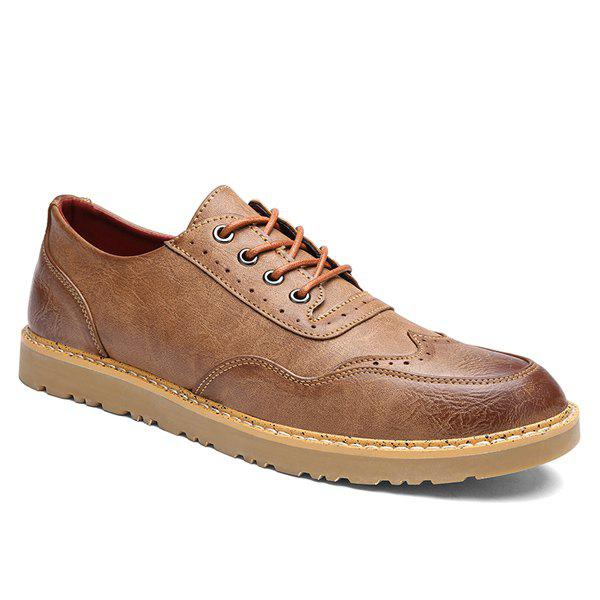 Retro Lace-Up and Engraving Design Men's Casual Shoes - BROWN 43