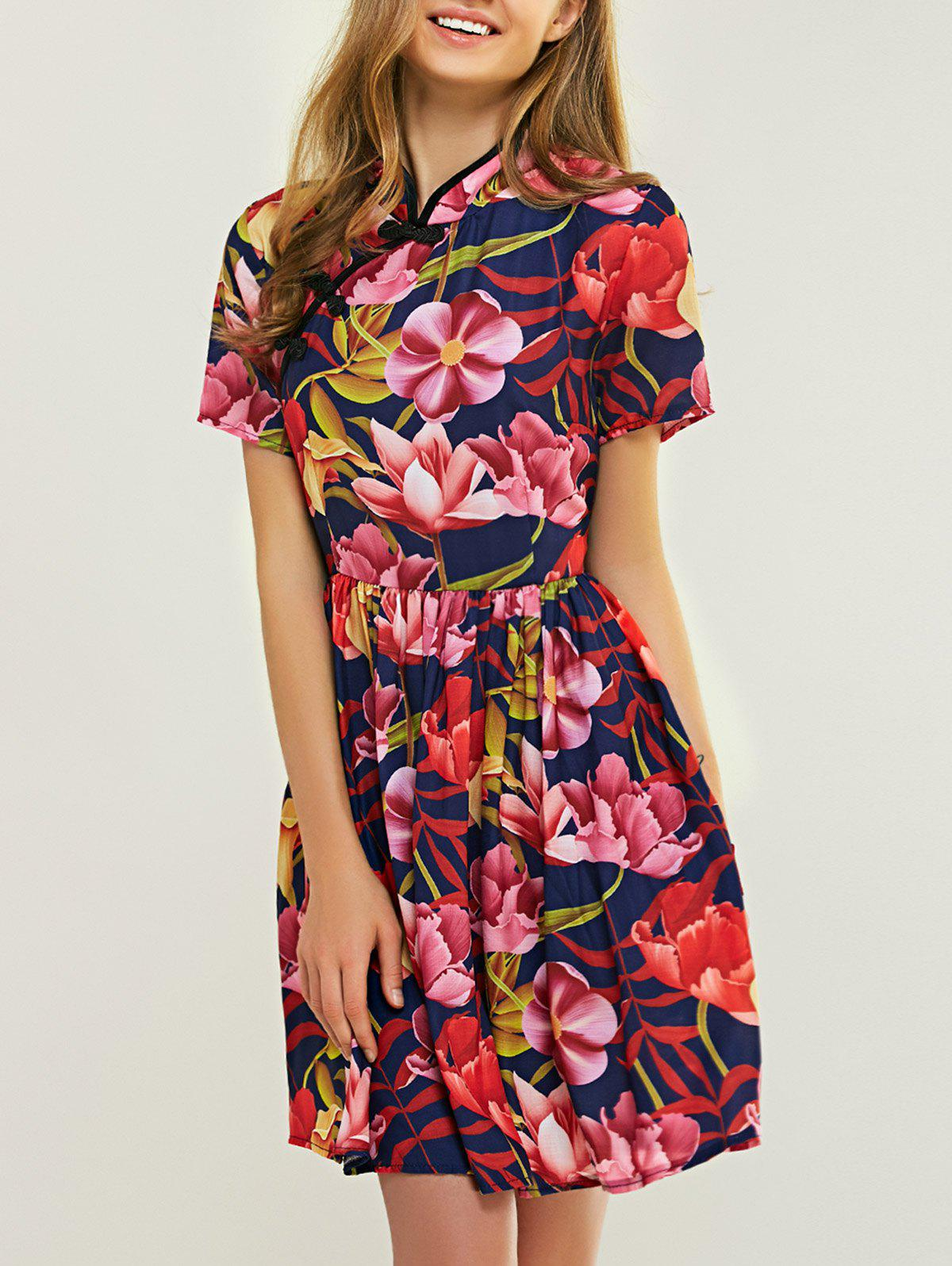 Ladylike Mandarin Collar Floral Print Fit and Flare Dress - COLORFUL 2XL