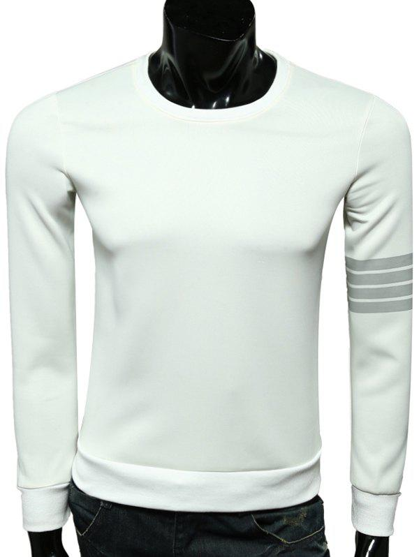 Long Striped Sleeve Crew Neck Pullover SweatshirtMen<br><br><br>Size: M<br>Color: WHITE