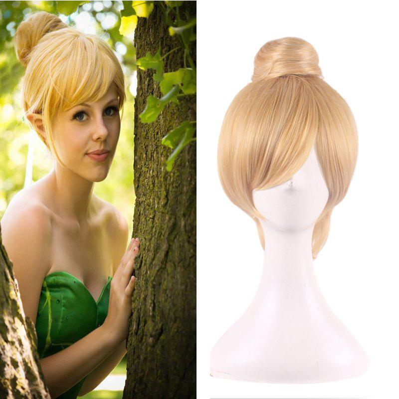 Short Straight With Bun Blonde Color Synthetic Fairy Tinker Bell Fashion Cosplay Wig - GOLDEN