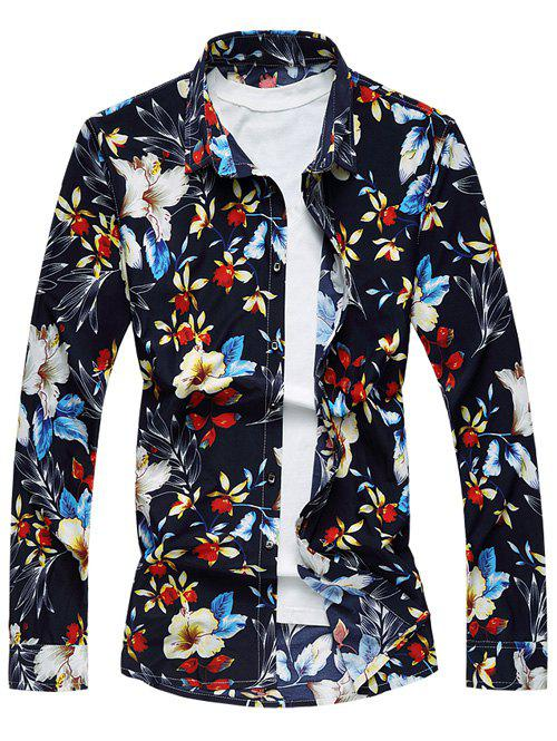 Turndown Collar Long Sleeve Floral Print Hawaiian Shirt turndown collar long sleeve eagle graphic print cool shirt