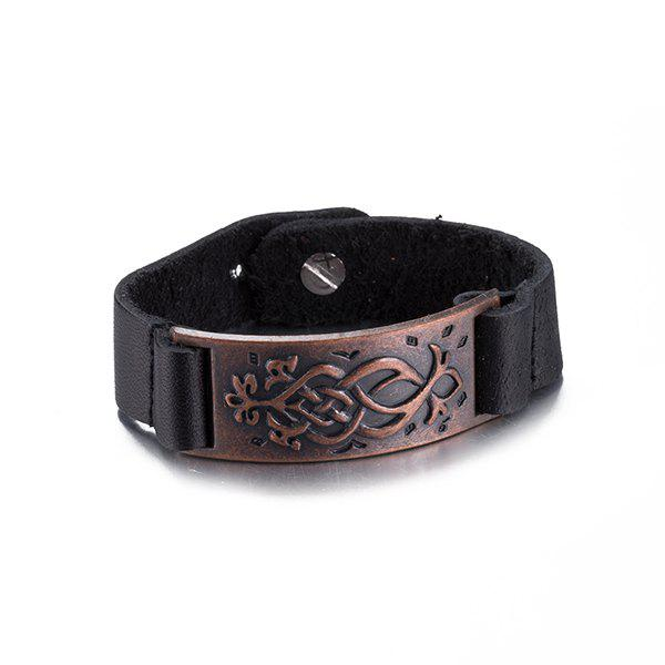 Chic Style Engraved Faux Leather Bracelet For Men -  RED BROWN