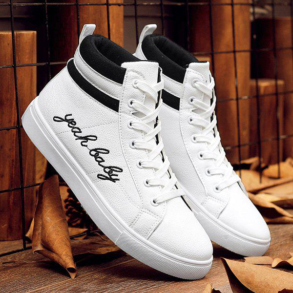 Trendy Lace-Up and Letter Print Design Men's Casual Shoes - WHITE 43