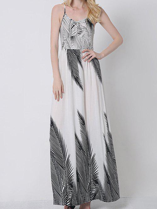 Bohemian Palm Tree Print Maxi Cami Dress - WHITE 2XL