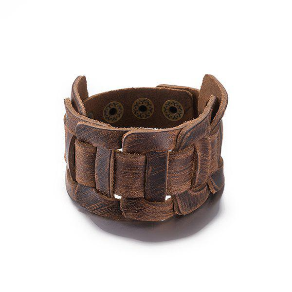 Punk Style Faux Leather Bracelet - BROWN