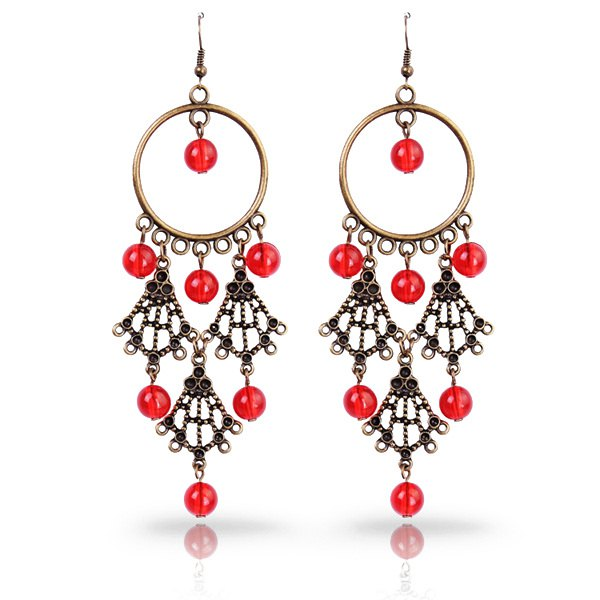Pair of Retro Cut Out Scalloped Faux Crystal Tiered Earrings - RED