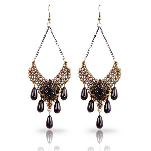 Pair of Vintage Cut Out Filigree Alloy Faux Pearl Teardrop Earrings - BLACK