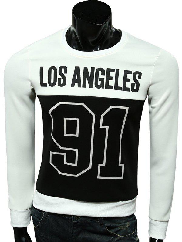 Crew Neck Letter Number Print Long Sleeve Sweatshirt - WHITE 2XL