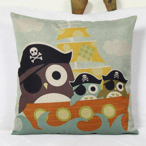 Group Pirate Owl Ship Design Flax Pillow Case