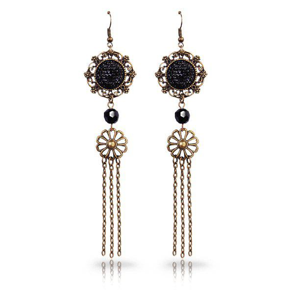 Vintage Cut Out Faux Crystal Medallion Longline Tassel Earrings - BLACK