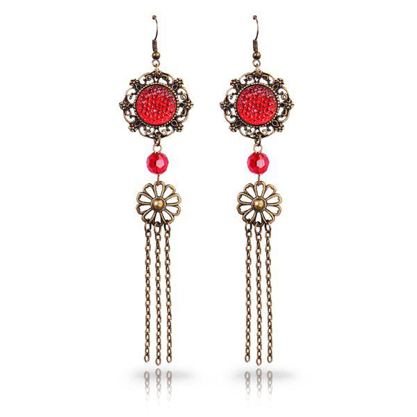Vintage Cut Out Faux Crystal Medallion Longline Tassel EarringsJewelry<br><br><br>Color: RED