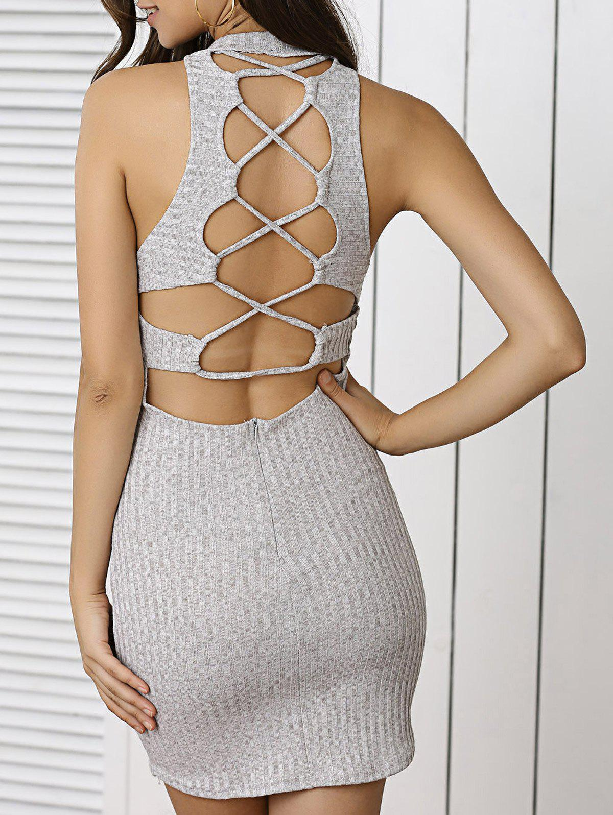 Lace Up Jumper Bodycon Club Dress - LIGHT GRAY S