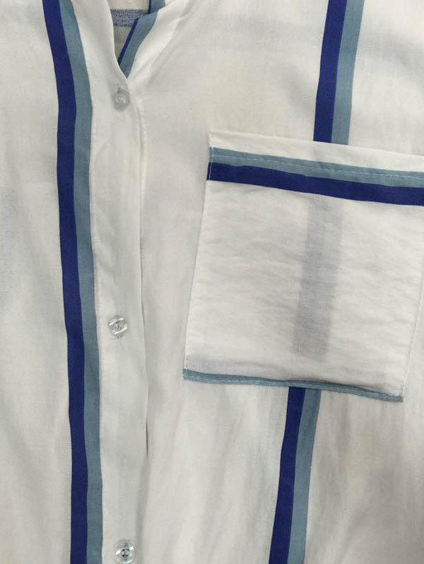 Long Sleeve Striped Front Tie Shirt - WHITE ONE SIZE