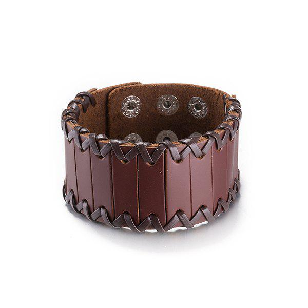 Trendy Faux Leather Woven Bracelet Jewelry - BROWN