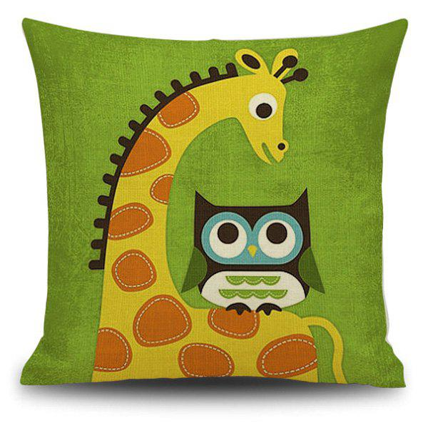 Flax Giraffe and Owl Cartoon Pattern Pillow Case