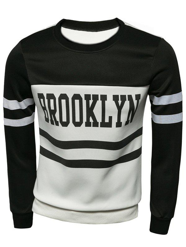 Crew Neck Striped Long Sleeve Letter Print Sweatshirt - BLACK 2XL
